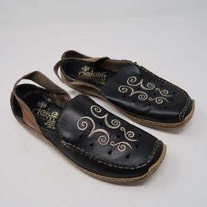 Womens Rieker Antistress Black Loafers Size 8